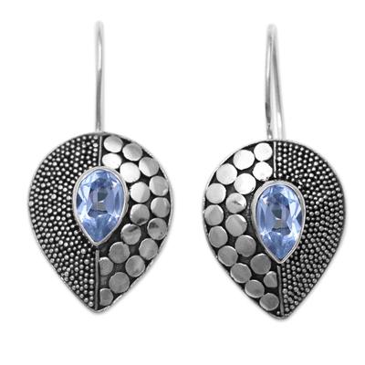 Blue topaz drop earrings, 'Azure Sincerity' - Balinese Fair Trade Silver and Blue Topaz Earrings
