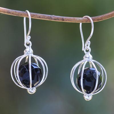 Onyx dangle earrings, 'Silver Lantern' - Handcrafted Silver Balinese Earrings with Black Onyx