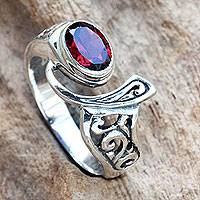 Garnet cocktail ring, 'Jimbaran' - Ornate Asymmetrical Garnet and Sterling Silver Ring