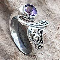 Amethyst cocktail ring, 'Jimbaran' - Amethyst and Sterling Silver Ornate Asymmetrical Ring