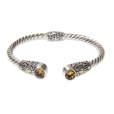 Gold accent citrine cuff bracelet, 'Sukawati Secret' - Sterling Silver Hinged Cuff Bracelet with Citrine Gold Plate