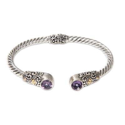 Gold accent amethyst cuff bracelet, 'Sukawati Secret' - Amethyst 18k Gold Accent on Sterling Silver Cuff Bracelet
