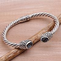Blue topaz cuff bracelet, 'Bali Splendor'