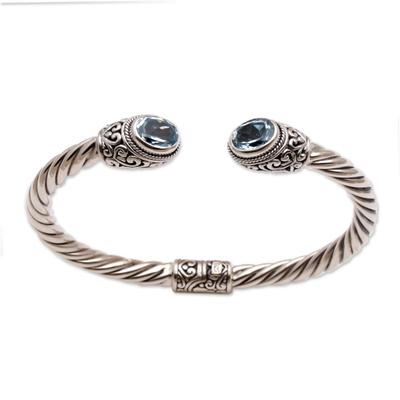 Blue topaz cuff bracelet, 'Bali Splendor' - Blue Topaz on Sterling Silver Hinged Cuff Bracelet