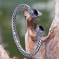 Amethyst cuff bracelet, 'Bali Splendor' - Bali jewellery Sterling Silver Cuff Bracelet with Amethyst