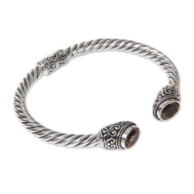 Citrine cuff bracelet, 'Bali Splendor' - Sterling Silver Hinged Cuff Bracelet with Citrines