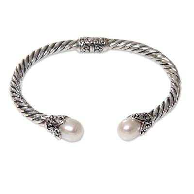 Silvery White Pearls on Sterling Silver Hinged Cuff Bracelet