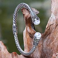 Cultured pearl cuff bracelet, 'Moonlit Promenade' - Sterling Silver Hinged Cuff Bracelet with Pearls