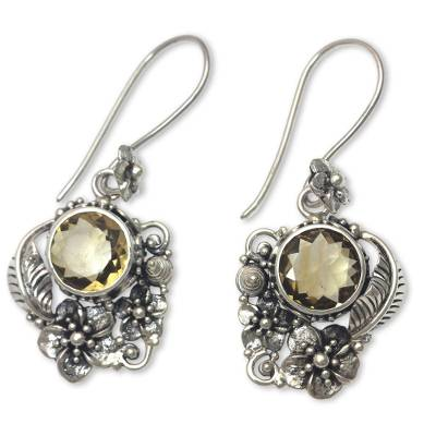 Citrine dangle earrings, 'Sun Blossoms' - Finely Crafted Ornate Citrine Floral Earrings from Bali