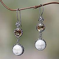 Citrine dangle earrings, 'Frangipani Moon Child' - Citrine Moon Image Silver Earrings Crafted in Bali