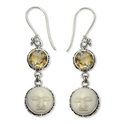 Citrine dangle earrings, 'Frangipani Moon Child' - Citrine Moon Image Silver Earrings Crafted in Bali