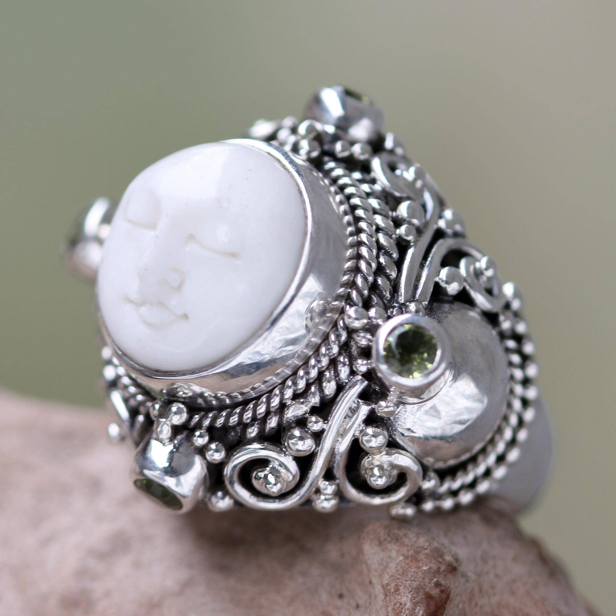 Unicef Market Peridot Statement Ring In Silver And Hand Carved Bone Quiet Dreams