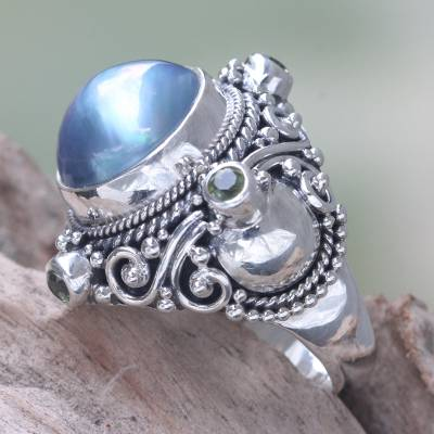 Cultured pearl and peridot cocktail ring, Regal Blue Glory
