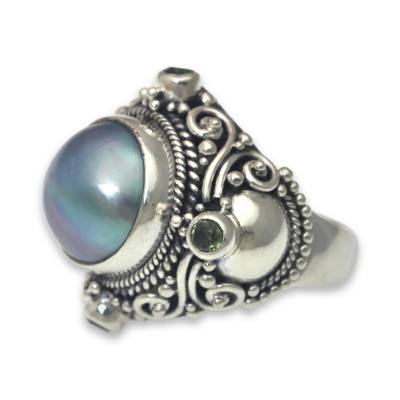 Cultured pearl and peridot cocktail ring, 'Regal Blue Glory' - Artisan Crafted Blue Mabe Pearl and Peridot Cocktail Ring