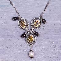 Cultured pearl and citrine Y-necklace, 'Goddess Rhyme'