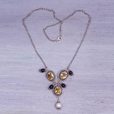 Cultured pearl and citrine Y-necklace, 'Goddess Rhyme' - Citrine Garnet Handcrafted Silver Cultured Pearl Y-Necklace