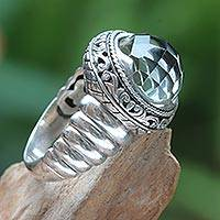 Prasiolite cocktail ring, 'Natural Spring' - Modern Balinese Silver Ring with Faceted Prasiolite