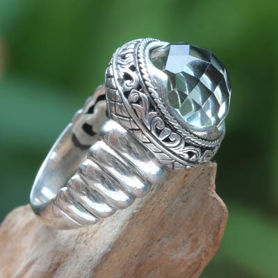 Prasiolite cocktail ring, 'Natural Spring' - Modern Balinese Silver Ring with Faceted Prasiolite
