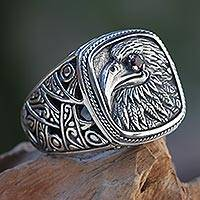 Featured review for Garnet signet ring, Java Eagle