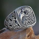 Eagle Theme Handcrafted Sterling Silver and Garnet Ring, 'Java Eagle'