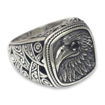 Eagle Theme Handcrafted Sterling Silver and Garnet Ring