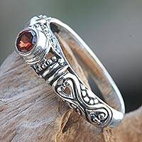 Garnet solitaire ring, 'Hearts Connected' - Bali Artisan Crafted Silver and Garnet Solitaire Ring