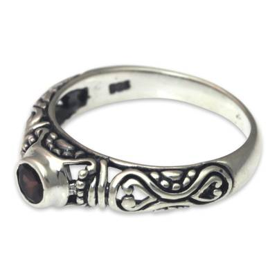 Bali Artisan Crafted Silver and Garnet Solitaire Ring
