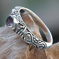 Amethyst solitaire ring, 'Hearts Connected' - Amethyst Bali Artisan Crafted Silver Solitaire Ring