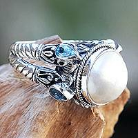 Cultured pearl and blue topaz cocktail ring, 'Joyful Moon' - Sterling Silver Ring with Mabe Pearl and Blue Topaz