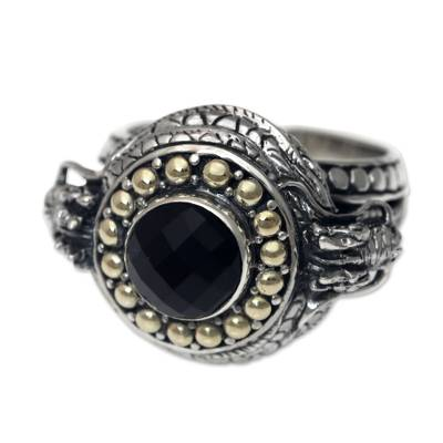 Dragon-shaped Sterling Silver Ring with Onyx and Gold Accent