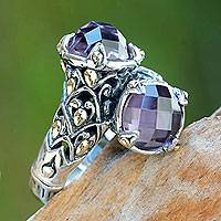 Amethyst and gold accent cocktail ring, 'Twin Lilies' - 5-carat Amethyst Sterling Silver Ring from Bali