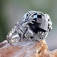 Onyx cocktail ring, 'Monkey Forest'