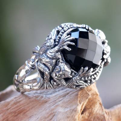 Onyx cocktail ring, 'Monkey Forest' - Sterling Silver Ring with Monkeys and Onyx from Bali