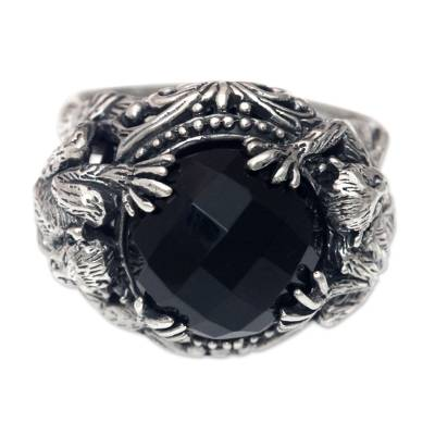 Sterling Silver Ring with Monkeys and Onyx from Bali