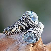Blue topaz and gold accent cocktail ring, 'Romantic at Heart' - Blue Topaz on Sterling Silver Ring with Gold Plated Accents