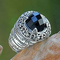 Onyx domed ring, 'Drama Night' - Checkered Board Onyx on Sterling Silver Ring from Bali