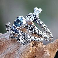 Blue topaz stacking rings, 'Garden of Eden' (set of 3)
