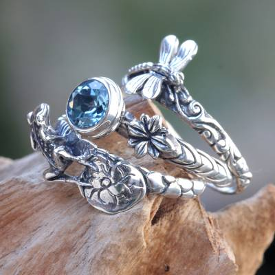 Blue topaz stacking rings, 'Garden of Eden' (set of 3) - Dragonfly and Frog on Silver Blue Topaz Stacking Rings (3)