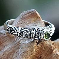 Peridot solitaire ring, 'Hearts Connected' - Peridot Solitaire Artisan Crafted Sterling Silver Ring