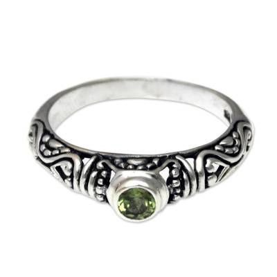 Peridot Solitaire Artisan Crafted Sterling Silver Ring