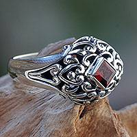 Garnet dome ring, 'Treasured Heart'