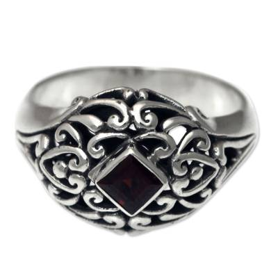 Garnet Dome Ring Sterling Silver Artisan Crafted Jewelry