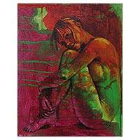 'Failed Love' - Artistic Nude Portrait Signed Fine Arts Painting from Bali