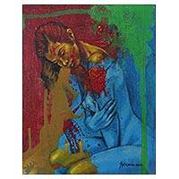 'First and Last Love' - Artistic Nude Portrait Signed Fine Arts Painting from Bali