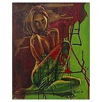 'Be Careful' - Artistic Nude Portrait in Green Signed Fine Arts Painting