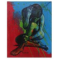 'Better to Love' - Woman in Blue and Red Artistic Nude Signed Painting