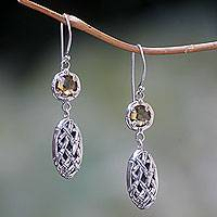 Quartz dangle earrings, 'Sunset Bamboo' - Sterling Silver Earrings with Bamboo Pattern and Quartz