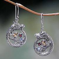 Multi-gemstone dangle earrings, 'Dragon's Prize' - Sterling Silver Dragon Earrings Garnet Citrine and Topaz