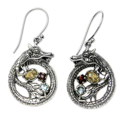 Sterling Silver Dragon Earrings Garnet Citrine and Topaz
