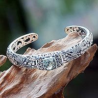 Prasiolite cuff bracelet, 'Dragonfly Frangipanis' - Sterling Silver and Prasiolite Bracelet Hinged Cuff